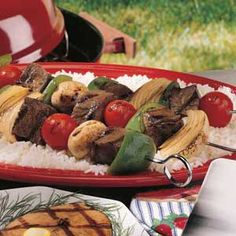 """Teriyaki Kabobs Recipe -""""It takes just seconds to stir up this delicious marinade, which flavors the beef and veggies wonderfully,"""" confirms Candy Vander Waal of Elkhart Lake, Wisconsin. """"Marinate the meat a few hours or overnight-whatever suits your schedule."""""""