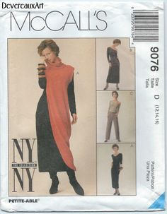 1997  McCall's Ny Ny-The Collection Pattern 9076  by Devereauxart (Craft Supplies & Tools, Patterns & Tutorials, Sewing & Needlecraft, Sewing, nyny collection, dress, dresses, mccalls 9076, asymmetric dres, assymentric top, tunic, pants, size D, size 12-14-16, office, urban, modern)