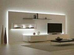 Minimalist living room is extremely important for your home. Because in the living room all the deeds will starts in your pretty home. locatethe elegance and crisp straight Minimalist Living Room Space.Minimalistic TV design- very well lit to highlight el Living Room Tv, Living Room Modern, Home And Living, Living Room Designs, Simple Living, Living Room Apartment, Apartment Design, Minimalist Living, Minimalist Decor