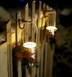 Picket Fences, Ideas, Picket Fence Lights, Outdoor Christmas Lights, Homemade Lanterns, Candles Holders, Christmas Lightslantern, Christmas Tins Cans Crafts ...