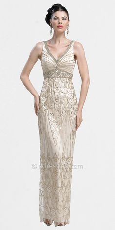 Art Deco V-neck Column Evening Dresses by Sue Wong