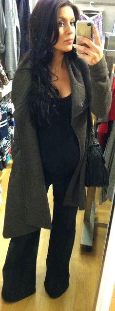 All Saints Jacket, Liz Lange Maternity tank from Target, Hudson wide leg maternity jeans