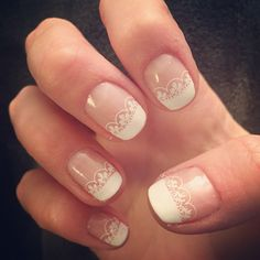 French manicure with lace tip stamp