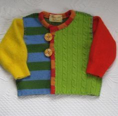 RECYCLED SWEATER CARDIGAN Isn't this adorable? My poor future grandbabies are going to have all kind of wild clothes made or purchased by their Nana! Knitting For Kids, Baby Knitting Patterns, Recycled Sweaters, Old Sweater, Baby Cardigan, Sweater Cardigan, Kids Coats, Sweater Making, Baby Sweaters
