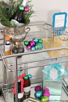 Set up your bar cart for a Girls-Night-In holiday party from Celebrations at Home