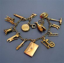 Rare Vintage 14K Gold Charm Bracelet Movable Mechanical Charms at Ruby Lane..