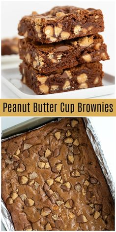 Peanut Butter Cup Brownies recipe from RecipeGirl.com #peanut #butter #cup #peanutbuttercups #peanutbutter #chips #reeses #chocolate #brownies #recipe #RecipeGirl via @recipegirl Peanut Butter Cups, Peanut Butter Cup Brownies, Peanut Butter Recipes, Lemon Brownies, Blondie Brownies, Homemade Chocolate, Chocolate Recipes, Chocolate Brownies, Chocolate Cheesecake