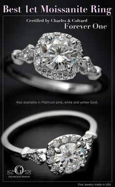 14kt Engagement ring with Flower Halo in Pink, white or Yellow gold. Made to order! Center Stone Choose from a 1ct, .80ct, .50ct, .33ct Forever One color D-E-F Center stones come with Certificate from Charles & Colvard Ring consist on a Cushion Halo with 12 diamonds. Each round brilliant diamond 1.20 mm. The shank is adorned with two small diamonds of 1.5mm one on each side All the diamonds are G-VS- SI with a total weight of .12ct Each ring is made by order ONLY Please allow 10 working ...