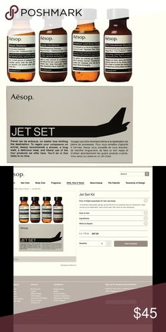 >Aesop Jet Set + bag 4 piece travel musts for the peripatetic. Cure wanderlust with these scented bath tinctures to settle any road weary soul.  corners bent from TSA mishandling, but contents secure and ready for your next trip! Will ship with a free Aesop muslin drawstring bag or wash cloth. Aesop Other