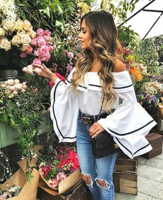 Zanzea Women Off Shoulder Strapless Flouncing Bell Sleeve Blouse Shirt Tops Plus Bell Sleeve Top Outfit, Bell Sleeve Blouse, Bell Sleeves, Corsage, Daily Street Style, Dressy Casual Outfits, Instagram Outfits, Loose Tops, Dress To Impress