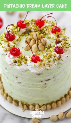 Pistachio Dream Layer Cake-Nutty, creamy layer cake with pistachios in both the cake as well as the buttercream frosting. This sweet treat recipe is easy to make (you use instant pistachio pudding mix!) and is a delicious dessert for holiday parties, potluck picnics, and celebrations with family and friends. Serve this on Mother's Day, Easter brunch, during Christmas break, for Valentine's Day - the occasions are endless and your guests will thank you!