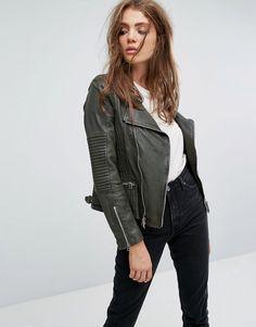 36acaf4ddac Shop Goosecraft Drape Collar Zip Detail Leather Jacket at ASOS.