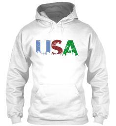 Usa White Sweatshirt Front