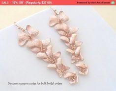 Rose Gold Earrings for Women Gifts for Bridesmaids Gift for Bride to Be, Long Earrings, Gift Ideas for Best Friend Gift for Girlfriend Gift