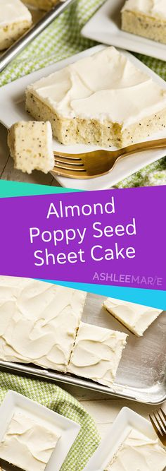 This almond poppy seed sheet cake is soft, spongy and has an amazing flavor! Add some easy cream cheese frosting and you have the most amazing simple dessert! # simple Desserts Almond poppy seed sheet cake recipe with cream cheese frosting Sheet Cake Recipes, Frosting Recipes, Almond Sheet Cake Recipe, Sheet Cakes, Köstliche Desserts, Dessert Recipes, Make Ahead Desserts, Desserts For A Crowd, Apple Desserts