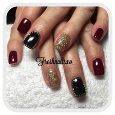 Gel Nails Black Red And Gold