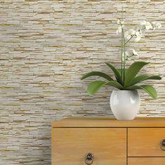 Papel de parede pedra canjiquinha bege e amarelo claro - PA8976