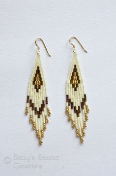 Stacked Bugle Bead and Seed Bead Earrings - $30.00 - Betty's Beaded Creations