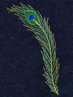 Peacock Embroidery Designs, Bird Embroidery, Hand Embroidery Stitches, Beaded Embroidery, Embroidery Patterns, Peacock Artwork, Cello Art, Techniques Couture, Dot Art Painting