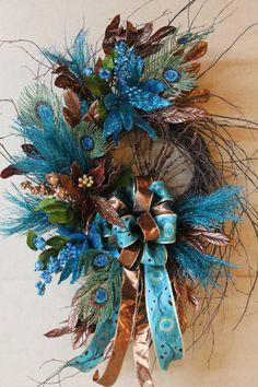 Elegant Christmas Wreath, Beautiful Teal & Bronze Brown Poinsettias, Peacock Design --