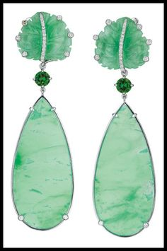 A pair of chrysoprase, chrome diopside, jade, and diamond ear pendants by Margherita Burgener.