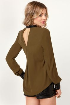 Cute Olive Green Top - Button-Up Top - $48.00