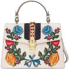 Gucci Sylvie Embroidered Leather Top-Handle Satchel Bag ($3,500) ❤ liked on Polyvore featuring bags, handbags, white multi, white leather satchel, leather purses, leather satchel, white handbags and genuine leather handbags