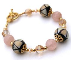 Pink Bracelet Lampwork Glass Quartz Pearl by InspiredTheory, $17.00