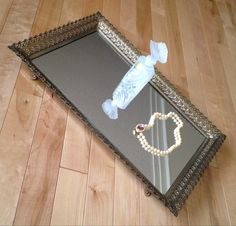 Vanity Mirror Tray  Gold Tone Filigree Square by SimplyAgain
