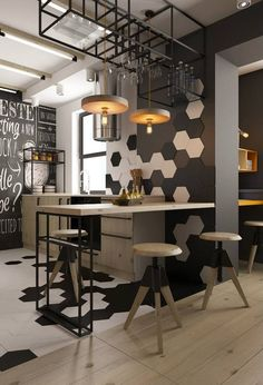 graphic tiling and dark walls