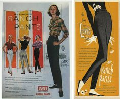 """Vintage women's Levi's jeans. From the blog: """"Levi's called their women's jeans """"ranch pants"""" at one point—a name originating in the 1940s when women often had to wear eminently practical clothing."""""""