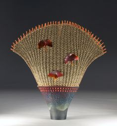 Marc and Karen Jenesel | 'Ginkgo'. Raku pottery lined with copper leaf (2 slots), seagrass, rattan, silver-plated colored  copper wire, copper foil, sponge coral beads