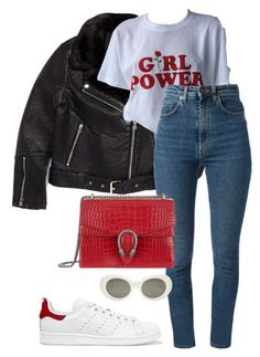 A fashion look from January 2017 featuring faux-leather moto jackets, high waisted jeans and tennis shoes. Browse and shop related looks. Cute Casual Outfits, Casual Chic, Stylish Outfits, Fall Winter Outfits, Spring Outfits, Look Fashion, Fashion Outfits, Street Fashion, Mode Ulzzang