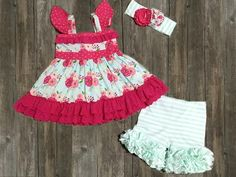 Serendipity Clothing Vintage Bloom Flutter tunic & icing shorties set (style 1842)