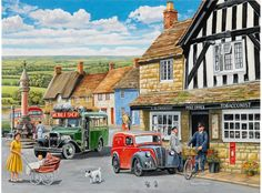 Trevor Mitchell 'The Post Office' Canvas Art Black, Trademark Fine Art Office Canvas Art, Nostalgic Art, Country Art, Country Life, Cartoon Art Styles, Traditional Wallpaper, Wall Art Designs, Artist Canvas, Images