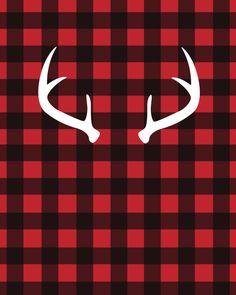 white antlers on red buffalo plaid free printable