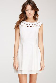 28f27a7d422 Love the cutout details on this white dress. Funny Fashion