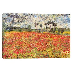 Evoke Impressionist style in your living room or office with this gorgeous canvas print, showcasing a colorful reproduction of Vincent van Gogh's Field ...