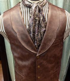 Mens Old West Leather Vest With Lapels, Mens Western Vests With Lapels, Mens Quality Leather Lapel Vests & Scarve, Steampunk Leather Vests With Lepels, Mens Western Vest, Western Wear, Western Cowboy, Mode Steampunk, Steampunk Costume, Steampunk Fashion Men, Rugged Style, Revival Clothing, Moda Casual