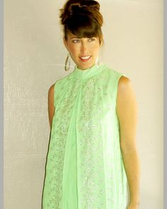 vintage 1960s silver embroidered neon lime by FiregypsyVintage, $73.82