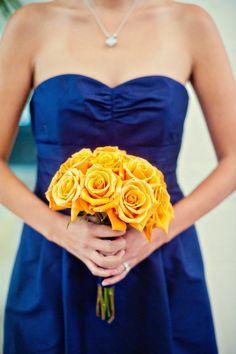 Bridesmaids bouquet and dress