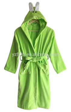 348419a050 100%cotton velour terry rabit design hooded kids bathrobe nightgown  housecoat