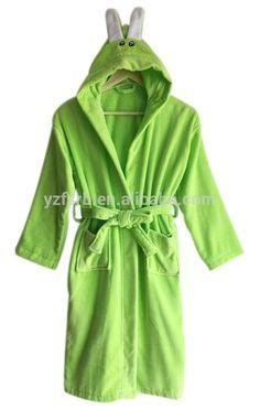 100%cotton velour terry rabit design hooded kids bathrobe nightgown  housecoat 7a7cd584a