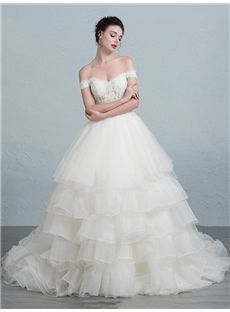 Fall Ball Gown Hall All Sizes Summer Off-the-Shoulder Court Floor-Length Wedding Dress