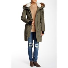S13/Nyc Faux Fur Trim Winter Parka (1 735 ZAR) ❤ liked on Polyvore featuring outerwear, coats, military, insulated coat, parka coat, white hooded coat, military style coat and faux fur trim coat