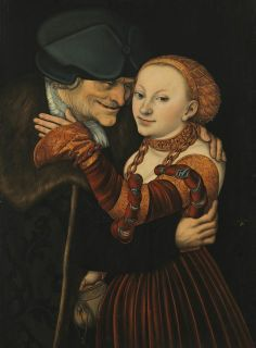 Lucas Cranach the Elder. Ill-matched Lovers (Unequal Couple),