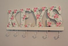 'Keys' pink rose hooks