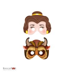 Printable BEAUTY and the BEAST Masks. Instant Download PDF file. Belle and the Beast via Etsy