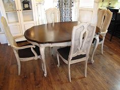 Restoration Furniture: Antiqued Gray Dining Table and Chairs