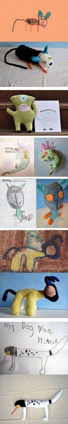 One awesome toy company decided to make children's drawings into weird plush toys. | The 50 Cutest Things That Ever Happened